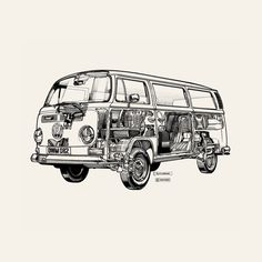 Exclusive graphic of a white camper van derived from an original Haynes Manual technical drawing. You can find this in our Haynes Manual collection.  http://www.surfaceview.co.uk/shop/print-canvases/birch-ply-print/9172/hay0005-bp-800x600-1361272702?ref=listings#/customise/birch-ply-print/step-1/