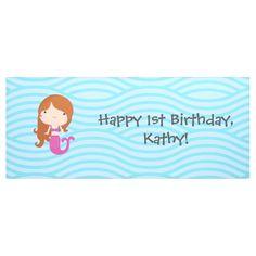 Mermaid Birthday Banner Mermaid Birthday, Happy Birthday Banners, Little Mermaid Birthday, Happy Birthday Posters