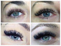 Comparison of the different types of lashes! Classics, volume, or mega volume Types Of Eyelash Extensions, Eyelash Extensions Aftercare, Volume Lash Extensions, Eyelash Extensions Classic, Eyelash Enhancer, Eyelash Sets, Spider Eyelashes, Short Eyelashes, Makeup
