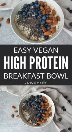 Vegan protein breakfast bowl. Super quick plant based breakfast that is high in protein (23 g) without any powder. All whole food plant based! High Protein Breakfast, Breakfast Bowls, Plant Based Breakfast, Vegan Breakfast, High Protein Plant Foods, High Protein Vegan Recipes, Vegan Protein, Vegan Meals, Whole Food Diet