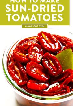 Learn how to make sun-dried tomatoes in the oven! This recipe can be easily customized to be as spiLearn how to make sun-dried tomatoes in the oven! This recipe can be easily customized to be as spicy, garlicky, herby or plain as you prefer. Vegetable Recipes, Vegetarian Recipes, Healthy Recipes, Veggie Food, Make Sun Dried Tomatoes, Types Of Tomatoes, Roma Tomatoes, Cherry Tomatoes, Clean Eating