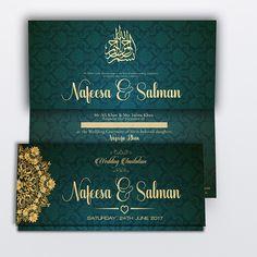 Beautiful Muslim wedding invitation, green/teal colour.