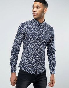 ASOS Stretch Super Skinny Shirt In Floral Print