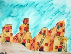 Complimentary color adobe houses in watercolor. First a line drawing with permanent marker