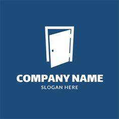Simple Blue and White Door logo design Diy Furniture Plans, Furniture Logo, Urban Furniture, Custom Logo Design, Custom Logos, Online Logo, White Doors, Logo Maker, Company Names