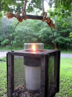 old cricket box used as outdoor lighting