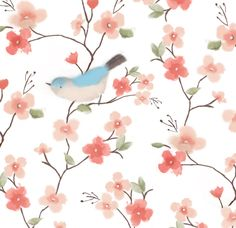 Bird and Cherry Blossom Watercolour copyright © lilypinkstudio2014 all rights reserved