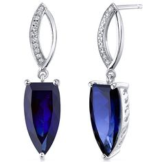 Peora.com - 8 cts Fancy Cut Blue Sapphire Sterling Silver Earrings SE8200, $64.99 (http://www.peora.com/half-marquise-cut-8-00-carats-blue-sapphire-earrings-in-sterling-silver-rhodium-finish-style-se8200/)