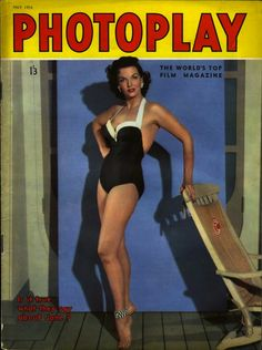 """myloveforjane:  Jane Russell on the May 1954 issue of Photoplay magazine. Notice the caption at the bottom of the magazine: """"is it true what they say about Jane?"""" Hmmmmm…what DO they say??"""