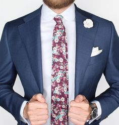 The Carmine floral tie over our new White french cuff club collar shirt, accompanied by the White microfiber lapel pin and White silk pocket square. All by Grand Frank.  www.Grandfrank.com