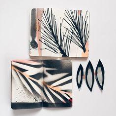 Eva Magill-Oliver Moleskine, Sketchbook Inspiration, Art Sketchbook, Artist Journal, Photo Instagram, Instagram Ideas, Handmade Books, Mark Making, Collages