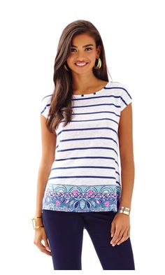 Check out this product from Lilly - Aimee Top  http://www.lillypulitzer.com/product/new-arrivals/aimee-top/c/1/8591.uts