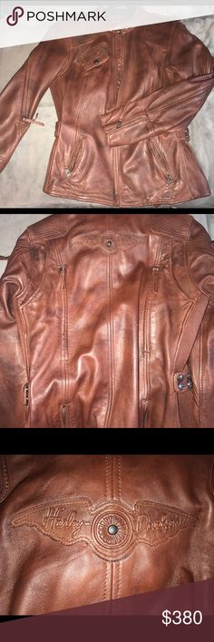 Ladies Harley Davidson leather riding jacket Brand new w/tags- ladies leather Riding jacket size large. Never worn. REALLY wanted this but too big. Pd $425 Harley-Davidson Jackets & Coats