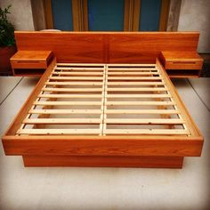 SOLD - Mid Century Danish Modern Queen Teak Platform Bed with Floating Nightstands by Jesper Denmark