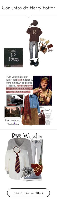 """Conjuntos de Harry Potter"" by kekabt ❤ liked on Polyvore featuring Les Petites..., AllSaints, Warehouse, Dr. Martens, Mulberry, RonWeasley, MostLovedCharacter, IRO, Repeat and Converse"