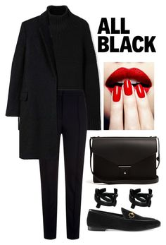 """Black"" by tugba-bulut-1 on Polyvore featuring Burberry, Escada Sport, Gucci, PB 0110, MANGO, Yves Saint Laurent and allblackoutfit"