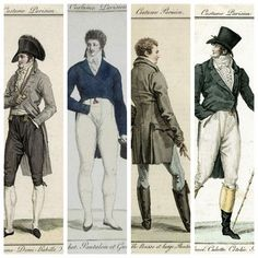 Early 19th century French fashion illustrations emphasizing pockets in menswear.