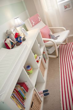 Love the idea of turning a book shelf into a changing table!