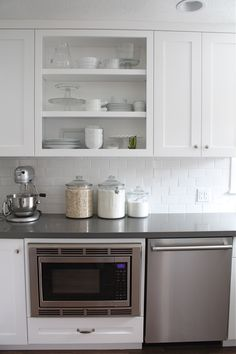 open-kitchen-shelves - love the white on white subway tiles! And all the white - make me happy. Kitchen Shelves, Kitchen Redo, Kitchen Pantry, New Kitchen, Kitchen Remodel, Kitchen Dining, Kitchen Ideas, Kitchen Cabinets, Wall Cabinets