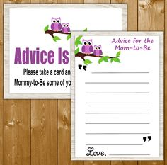 Owl Advice for the New Mom, Baby Shower Game, Purple Shower Game, Neutral Shower Games, Baby Shower Printables, Instant Download