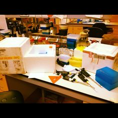 @Lafrenchfille  #seemyscience : my bench after waaayyyy to many qPCR's in one day ...