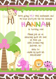 Jungle Safari Giraffe Birthday Party Invitation Birthday party