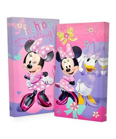 love this minnie mouse glow in the dark canvas set on zulily