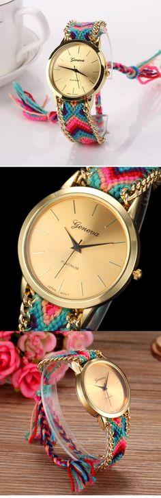 430658f77d90  €4.59  Mujer Reloj de Pulsera cuerda trenzada Tejido Banda Bohemio   Moda  Múltiples Colores   Un año   SODA AG4