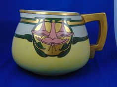 "Count Thun (TK) Czechoslovakia Arts & Crafts Floral Motif Cider/Lemonade Pitcher (Signed ""C. Adamson""/c.1918-1936)"
