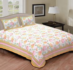 This Bedsheet is multicoloured which looks amazing. It is made from cotton fabric. It is from Rajasthan, India.