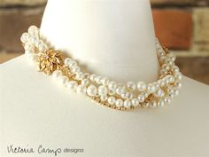 gold pearl bridesmaid necklace - Google Search