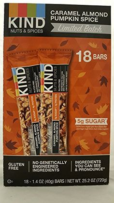 KIND Seasonal Snack Bar Caramel Almond Pumpkin Spice 18 ct * Find out more about the great product at the image link. (This is an affiliate link and I receive a commission for the sales) Gluten Free Diet, Foods With Gluten, Kind Bars, Spiced Nuts, Cereal Bars, Snack Bar, Sugar And Spice, Pop Tarts, Pumpkin Spice