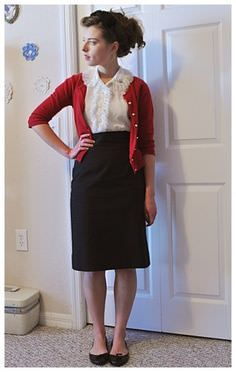 Love the cropped cardigan with high-waisted skirt. Need to learn to like having my shirt tucked in. Modest Dresses, Modest Outfits, Modest Fashion, Modest Clothing, Sexy Librarian, Librarian Style, Moda Vintage, Vintage Mode, Pretty Outfits