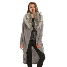a253e11fb58 Women s Jennifer Lopez Sequin Faux-Fur Long Cardigan