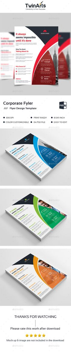 Flyer Template by Twin-Arts Flyer Template This is a Corporate Flyer . This template download contains a 300 dpi print-ready CMYK psd files.All main elements