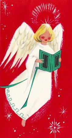 Christmas Angel. Vintage Christmas Card. Mid-century Christmas Card.