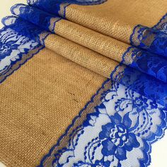 Burlap Lace Table Runner & ROYAL BLUE LACE/5ft-10ft x13in Wide/Wedding Decor /Weddings/Etsy Finds/Tabletop Decor/Rustic Weddings/party decor by LovelyLaceDesigns on Etsy