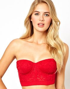 134ebe080f9 ASOS Boudoir CHERRY Padded Cupped Low Back Bandeau - Red Online Shopping  Clothes