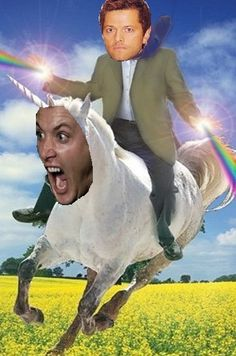 Misha Collins the Rainbow Knight rode Jensen Ackles the Unicorn into the sunset