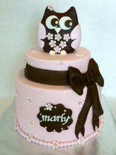 1st Birthday Owl Cake - Pink and Brown Owl cake for a wonderful little girls 1st birthday.  Owl was made with modeling chocolate and the rest decorated with fondant.  Underneath it all is a lemon cake with strawberry filling. YUM!
