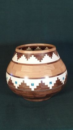 Pueblo Style Wooden Segmented Bowl  Made by HighCountryWorkshop
