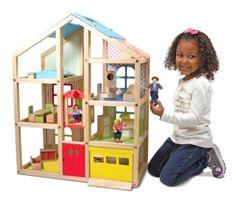 Dollhouse Melissa & Doug Hi-Rise Wooden Dollhouse & Furniture Set Girls GIFT NEW #MelissaDoug