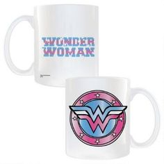This mug features a classic Wonder Woman logo in updated colors.