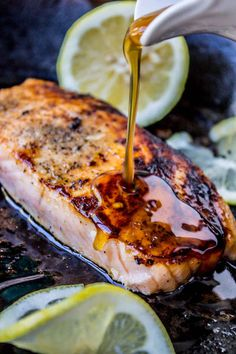 Pan Seared Salmon with Maple Glaze and Pistachios