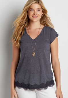 heathered tee with scalloped lace bottom hem (original price, $29.00) available at #Maurices