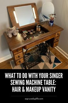 Redo Furniture, Furniture Rehab, Diy Sewing Table, Singer Sewing Machine Table, Refurbished Table