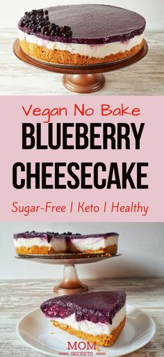 Vegan No-Bake Blueberry Cheesecake This raw vegan blueberry cheesecake is absolutely delicious and irresistible! It´s totally healthy, sugar-free and makes just a perfect dessert for any occasion! Healthy Vegan Dessert, Keto Vegan, Cake Vegan, Healthy Sugar, Eating Healthy, Dessert Simple, Keto Dessert Easy, Keto Cheesecake, No Bake Blueberry Cheesecake