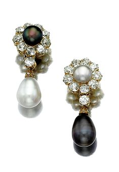 Sotheby's Pair of pearl and diamond pendent earrings mm