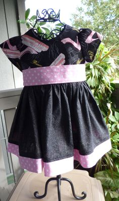 Black and pink little girls dress by EmelineDesign on Etsy