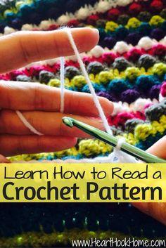 How to Read a Crochet Pattern - - The most daunting aspect of learning to crochet? Learning how to read a crochet pattern. Here's a step-by-step guide to get you started! Crochet Motifs, Crochet Stitches Patterns, Knit Or Crochet, Learn To Crochet, Crochet Crafts, Stitch Patterns, Chrochet, Crochet Ideas, Crochet Tutorials